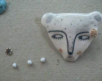 Little bear ceramic brooch-Hush my baby, hush!