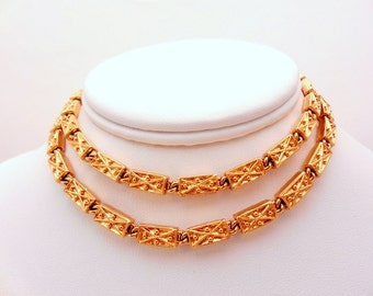 Vintage Yellow Goldtone MONET Rectangular Necklace
