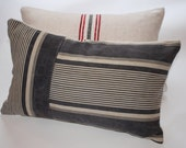 Pillow Cushion Cover Grey Stripe 12x20inch 30x50cm Red Striped Grain Sack. Handmade with Passion