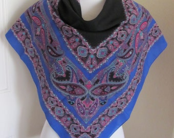 "Lovely Black Blue Paisley Poly Scarf - 30"" Inch 76cm Square (CZ61C)"
