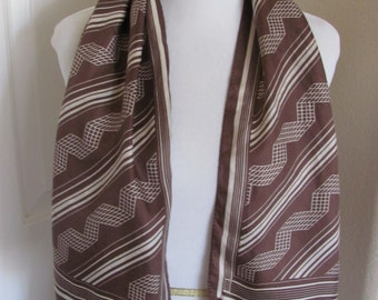 Beautiful Brown Soft Silk Scarf - 13 x 44 Long  - Affordable Scarves!!!