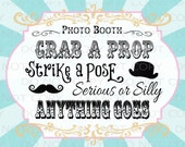 """Printable DIY Vintage Circus Photo Booth Prop sign - 8"""" x 10"""" INSTANT DOWNLOAD"""