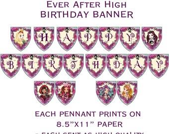 Printable DIY Royal Theme Happy Birthday Banner