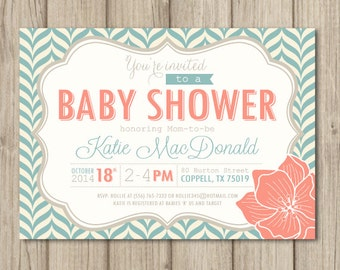 BABY SHOWER Invitation - Aqua and Coral - Modern Pattern