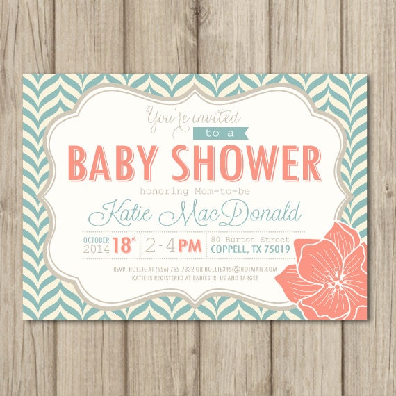baby shower invitation aqua and coral modern pattern