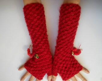 LONG GLOVES MITTENS / Women Accessories Fingerless Hand Knitted Elegant Warm Wrist Warmers / Crochet Winter Feminine Romantic Cabled 407