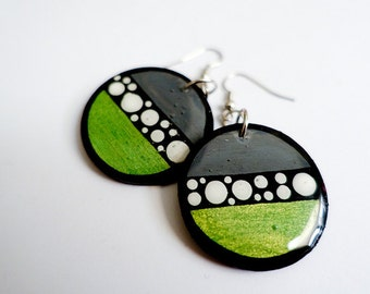 Modern, Small and Bold Circular and Stripped Metallic Green Polka dotted Earrings