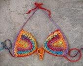 Hippie crochet bikini top, Bohemian clothing, Crochet bra, Boho, Hippie, Gipsy, Tribal, Ethnic, Sexy summer top
