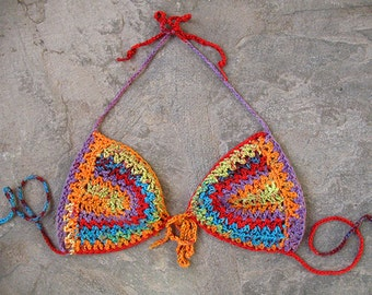 Hippie crochet bikini top, Bohemian clothing, Crochet bra, Boho, Hippie, Gipsy, Tribal, Ethnic, Sexy summer top