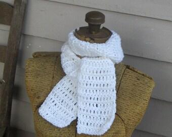 Snow White scarf  Handmade crocheted fashion Bohochic rustic neck wrap Pure white winter or fall fashion scarf