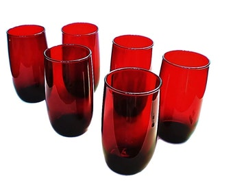 SALE Ruby Red Glassware Anchor Hocking Roly Poly Glasses 4 Red Glass Tumblers  Ice Tea or Water Glasses