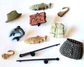 Fishing Cabochon Embellishments 11pc
