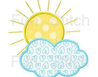 Sun cloud applique machine embroidery design