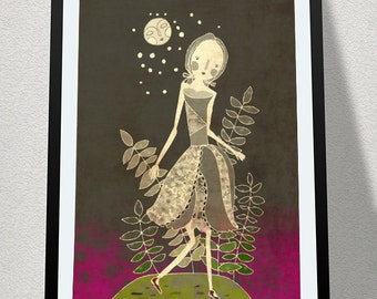 THE SLIM GIRL // night illustration // grey purple moon flowers // digital painting