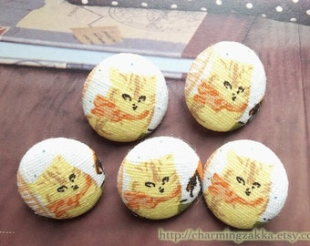 Fabric Covered Buttons (M) - Retro Lovely French Style Yellow Cats (5Pcs, 0.75 Inch)
