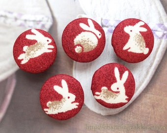 Fabric Covered Buttons (L) - Zen Style Traditional Japanese Holiday Running Bunny Rabbits On Dark Red (5Pcs, 0.98 Inch)