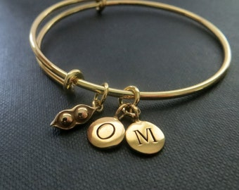 Personalized gold bangle bracelet, gold bangle, two peas in a pod and initial disc bangle, expandable