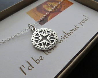 Openwork compass necklace, sterling silver charm necklace, I'm lost without you card, journey, going away