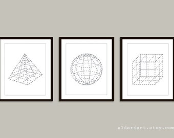 Pyramid Sphere Cube Geometric Art Prints  Set of 3 - Modern Home Decor - Grey and White - 3D Shapes