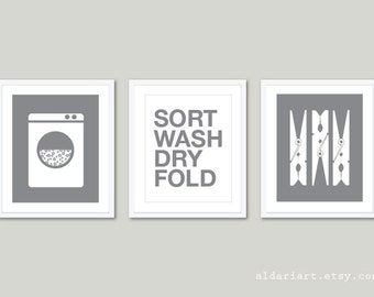 Laundry Room Art Prints - Set of 3 - Laundry Wall Art - Clothespins Print -  Modern Home Decor - Slate Grey and White - Sort Wash Dry Fold