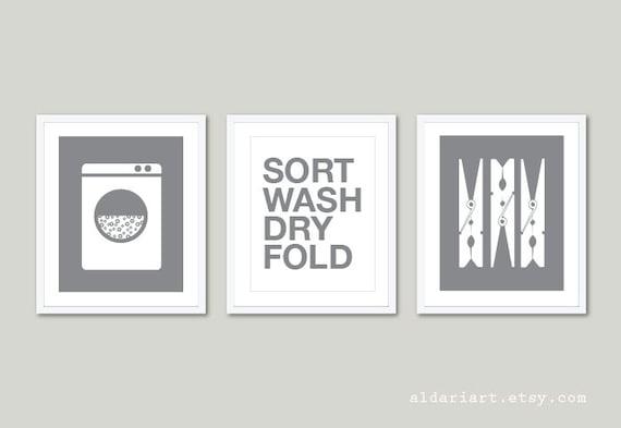 Laundry room art prints set of 3 laundry wall art - Laundry room wall decor ...