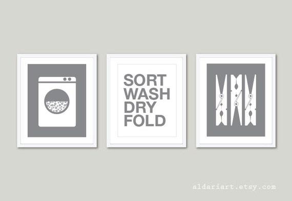 Laundry room art prints set of 3 laundry wall art for Laundry room wall art