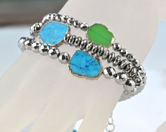LP 1247   Three  Bright Silver Hematine,Turquoise and Green Chalcedony Stackable Bracelets