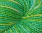 Vivid Green Variegated OOAK All That Glitters DK Merino Silk Stellina Yarn