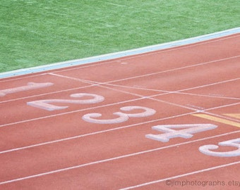 Sports Decor, Track Runner Art, Field Event, Athletics, Jogging, Exercise, Stadium Field, Red, Race Lanes, 100 Yard Dash, Sporting Event