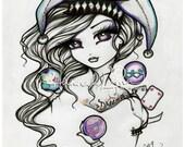 Jester Girl Tattoo Dreamer Sketch Fairy Fantasy Art 8x10 Print Hannah Lynn