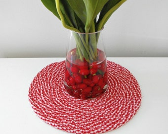 Round Coiled Cotton Mat - Farmhouse Country  Table Protector,  Red Gingham Snack Mat, Trivet, Hot Pot Table Protector - Handmade By Bobann23
