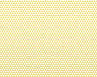 Yellow and Cream Triangle Geometric Stripe Cotton Fabric, Oh Boy By Lori Whitlock for Riley Blake, Boy Triangle Print in Yellow, 1 Yard
