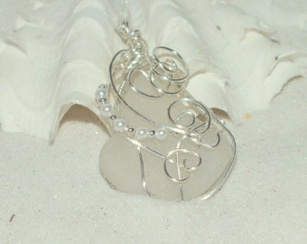Sterling Silver Beach  Necklace - Sea Glass Jewelry - Wedding Necklace -  Lake Erie Beach Glass - Beach Wedding