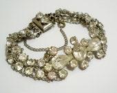 Vintage Rhinestone bracelet - Original chain guard closure - Silvertone - All glass stones intact - cheesegrits