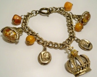 Vintage charm bracelet loaded with interesting items - Crown, coins and stones - Link chain - Eco friendly - cheesegrits