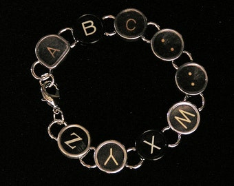 Typewriter Key Bracelet - says ABC....WXYZ