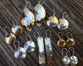 Mixed Metal Hammered earrings
