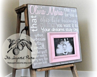 First Birthday, Baby Girl, Pink and Gray, Baptism Gifts From Godparents, Baptism Gifts For Godchild, Godson, Godchild, Baptism Frame 16x16