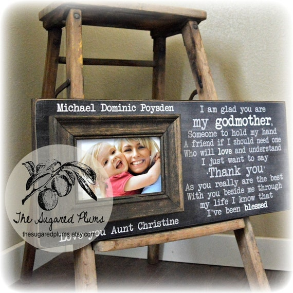 Will You Be My Godmother, Godmother Gift, Godmother Frame, Baptism Gift for Godparents, Christening Gift, 8x20 The Sugared Plums