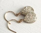 white sparkly teardrop earrings on 14k gold fill, glitter jewelry,  gold earrings, white drop earrings, white dangle earring