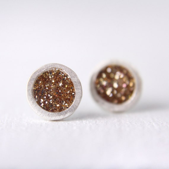 silver stud earrings with gold glitter, pmc fine silver earrings, simple silver post earrings, gold studs, gold earrings