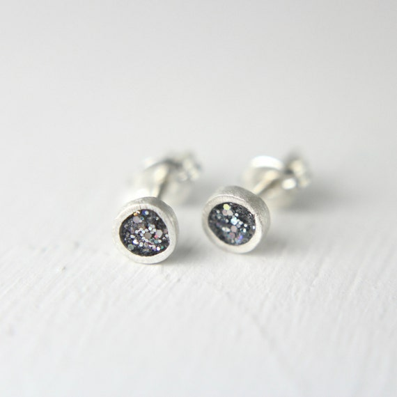tiny silver post earrings, pmc fine silver earrings with iridescent silver glitter, tiny studs, simple post earrings, silver stud