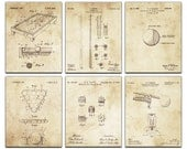 Billiard Room Blueprint Patent Six Panel Canvas Giclee  - 36x30