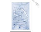 Vintage Straight Razor Patent Art Blueprint Design Giclee on archival matte paper