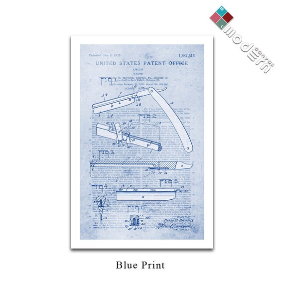 Vintage straight razor patent art blueprint design giclee on like this item malvernweather Image collections