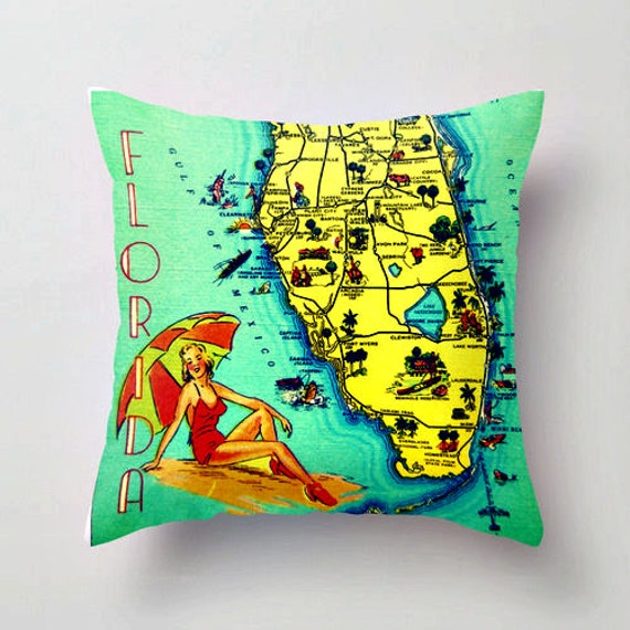 florida beach pillow gift throw covers map etsy pillows style cover vintage house gifts houses century mid 18x18 coastal maps