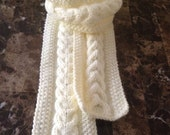 Baby girls scarf, girls hand knitted scarf, gorgeous cable knit scarf for baby girls, cream color