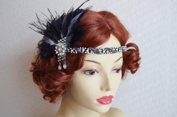 READY TO SHIP, Black and Grey headband, Vintage headpiece,1920s fascinator, art deco headband, gunmetal headband, hair clip, gatsby