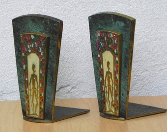 Dayagi Ornate Brass Enameled Judaica Bookends with Sword-Holding Figure