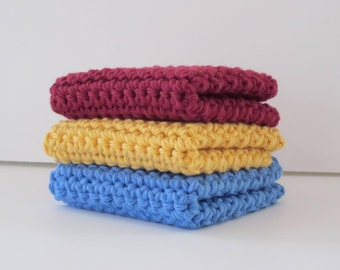 Crochet Washcloths, Dishcloths, Set of 3